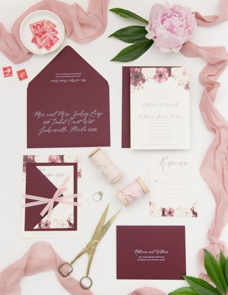 Blush And Wine Floral Wedding Invitation