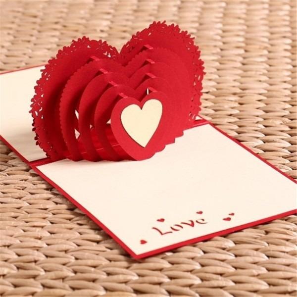 Henghome 1 Pcs Laser Cut Origami Cards 3d Heart Pop Up Wedding