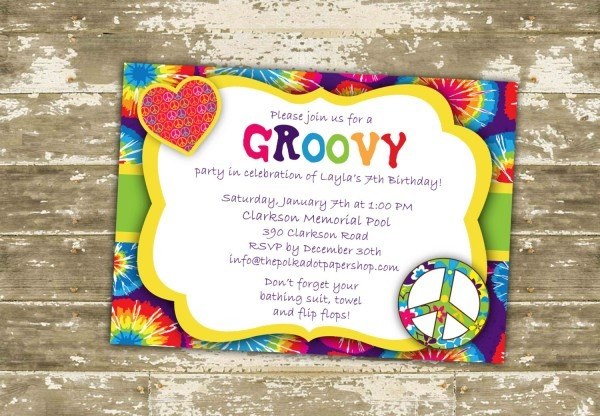 Tie Dye Invitations Cute Tie Dye Party Invitations