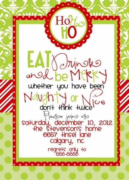 Holiday Potluck Invitation Wording Funny Christmas Party