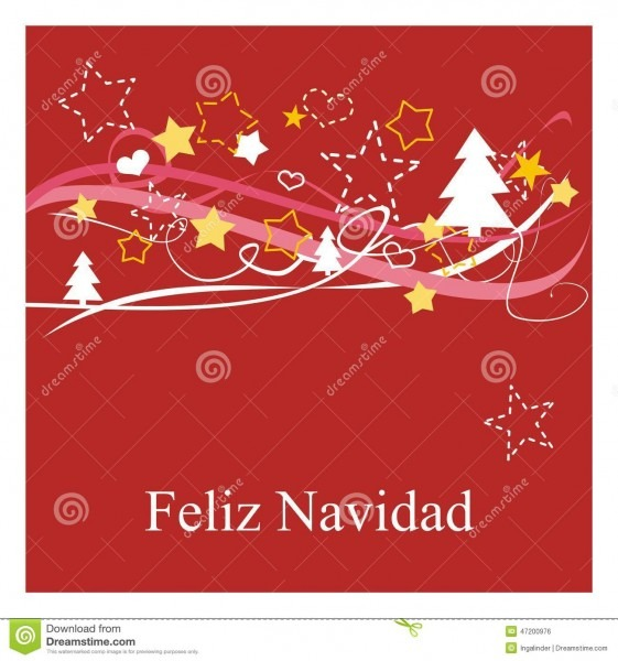 Holidays Vector Card With Espanol Wishes  Feliz Navidad Stock