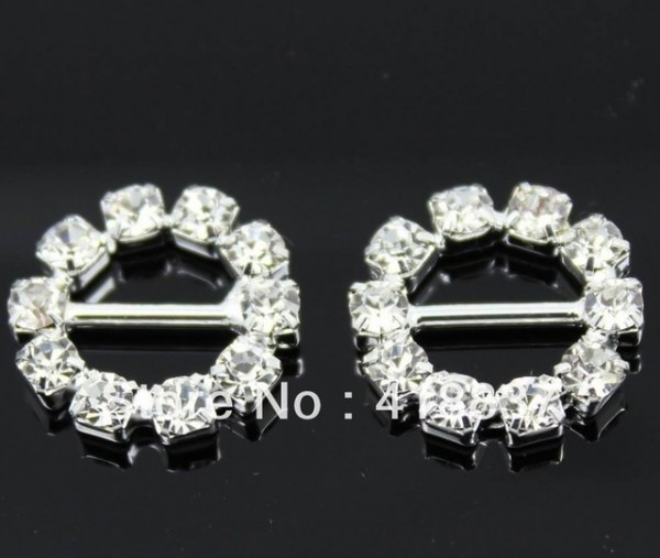 Hot 100pcs Dia 16mm Round Clear Rhinestone Buckles For Wedding