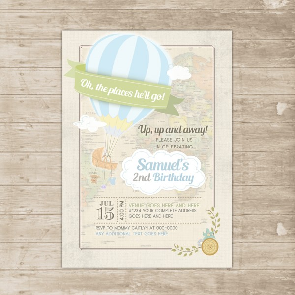 Hot Air Balloon Invitation Oh Baby The Places You'll Go Invite Boy