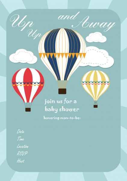Hot Air Balloon Baby Shower Invitations Hot Air Balloon Baby