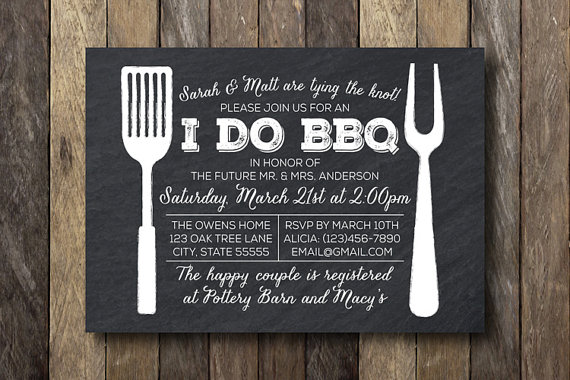 Ideal I Do Bbq Engagement Party Invitations