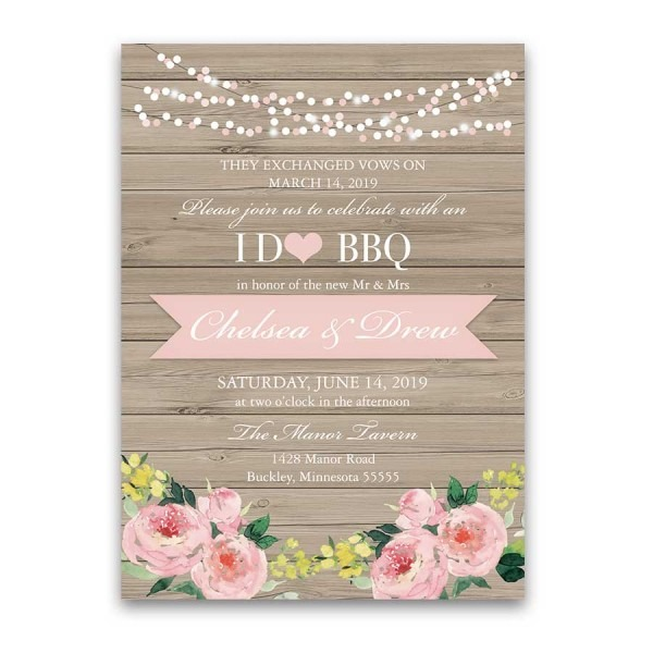 I Do Bbq Wedding Reception Only Invitation Blush Floral