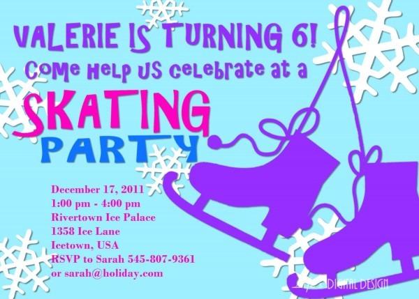 Ice Skating Party Invitation Birthday Customizable Printable Ice