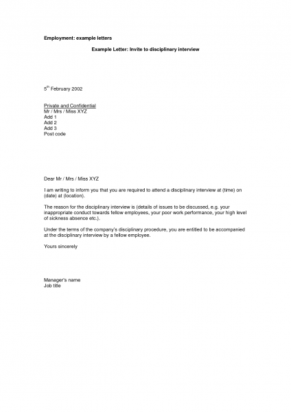 Example Of Job Interview Invitation Letter