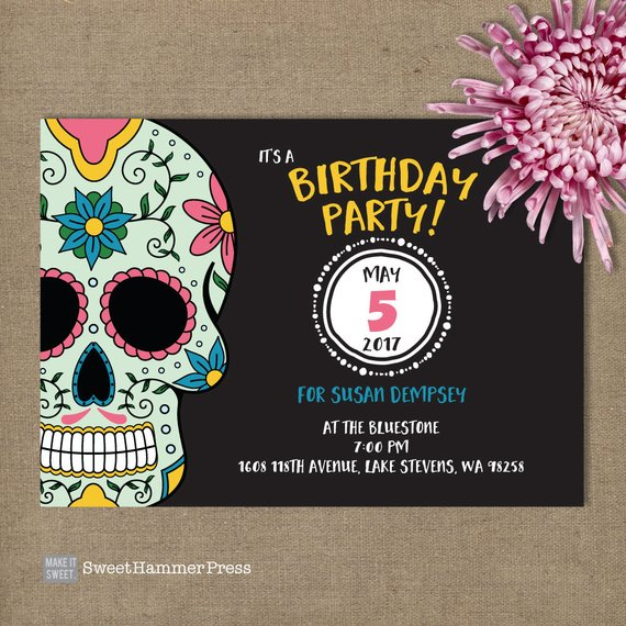 Sugar Skull Birthday Invitations Forty And Fab 40th Black