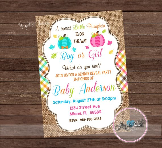 Pumpkin Gender Reveal Invitation  Pumpkin Gender Reveal Party