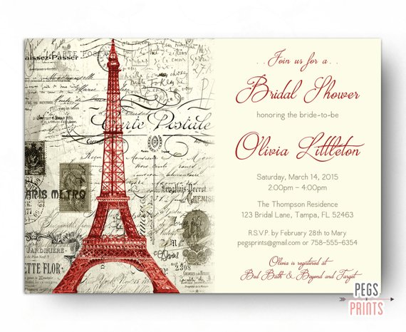 Red Paris Themed Bridal Shower Invitation Printable Paris