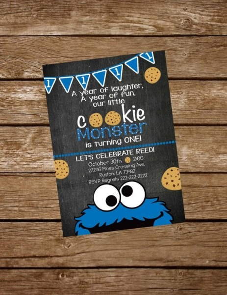 Cookie Monster Birthday Invite Cookie Monster Invitation