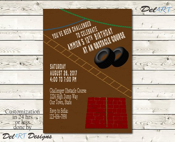 Obstacle Course Birthday Party Invitation Invite Or Save The