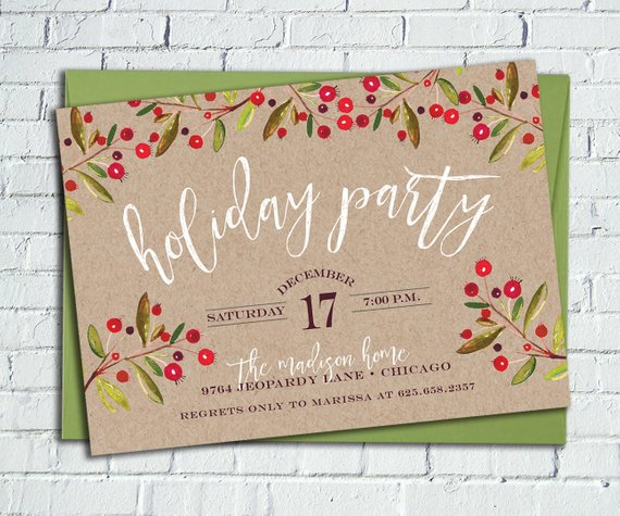 Rustic Holly Holiday Party Invitation Kraft Paper