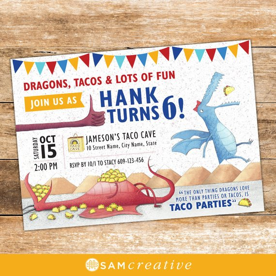 Dragons Love Tacos Invitation Printed   Diy   Printable