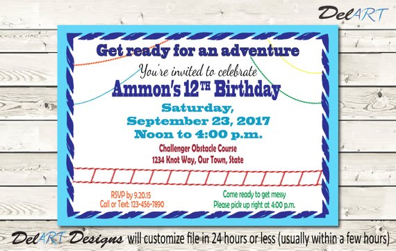 Obstacle Course Birthday Invitation Invite Or Save The Date