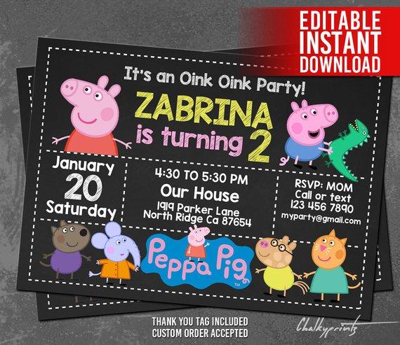 Peppa Pig Invitation Instant Download Peppa Pig Birthday
