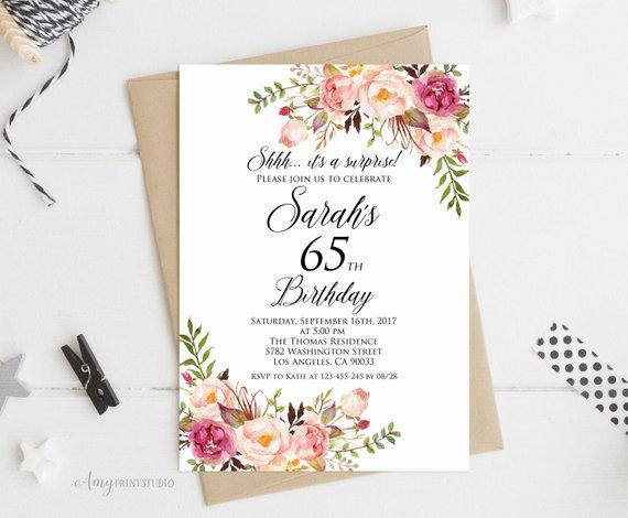 Surprise 65th Birthday Invitation Women Birthday Invitation