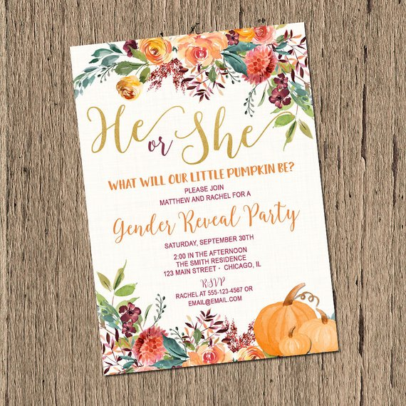 Fall Gender Reveal Invitation Pumpkin Gender Reveal Invite