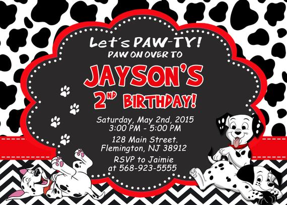 101 Dalmatians Invitation Birthday Party