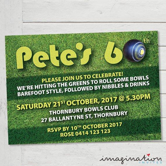 Lawn Bowls Invitation Birthday Party Invite 21st 30th 40th