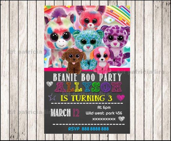 Beanie Boo Chalkboard Party Invitation Beanie Boo Invitation