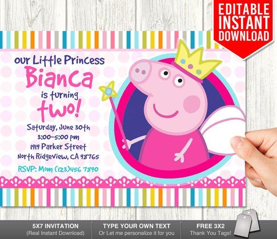 Peppa Pig Invitations Peppa Pig Invitation Download Peppa