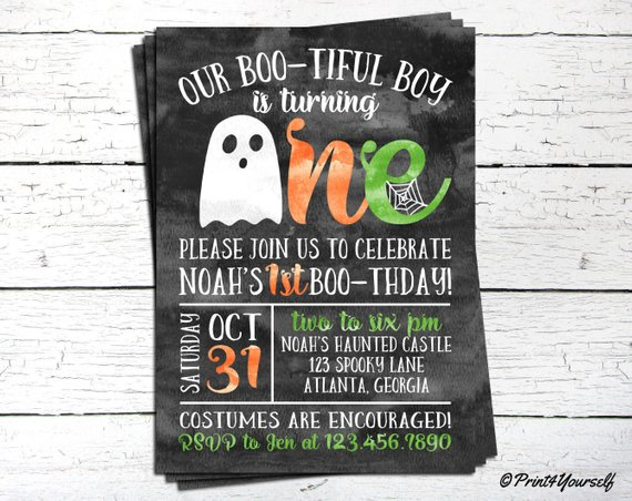 1st Birthday Halloween Invitation    Personalized Printable