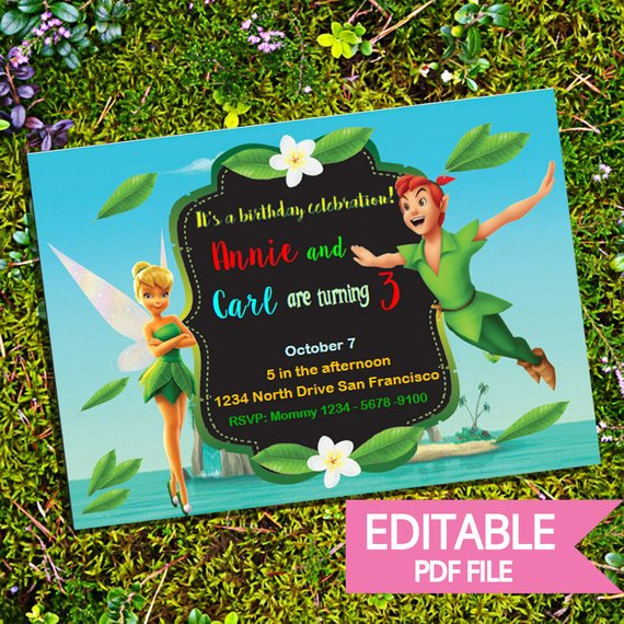 Editable Peter Pan And Tinkerbell Invite Printable And