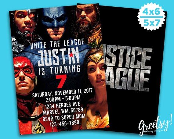 Justice League Invitation Justice League Birthday Justice