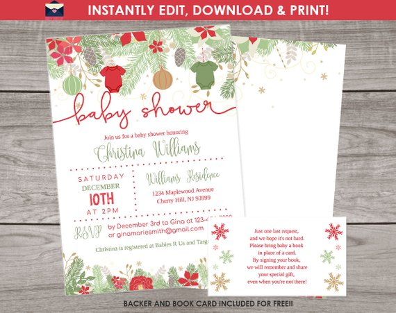 Christmas Baby Shower Invitation Template Edit Yourself With