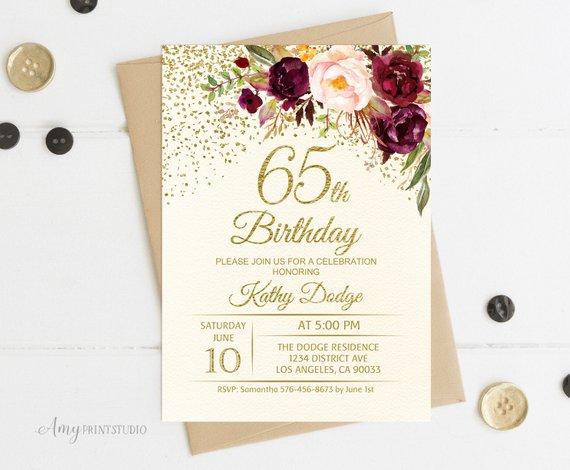 65th Birthday Invitation Floral Ivory Birthday Invitation