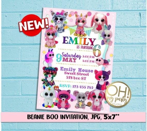 Beanie Boo Party Beanie Boo Invitation Beani Boo Birthday