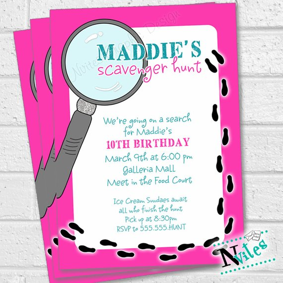 Scavenger Hunt Invitation Scavenger Hunt Birthday Party Clue