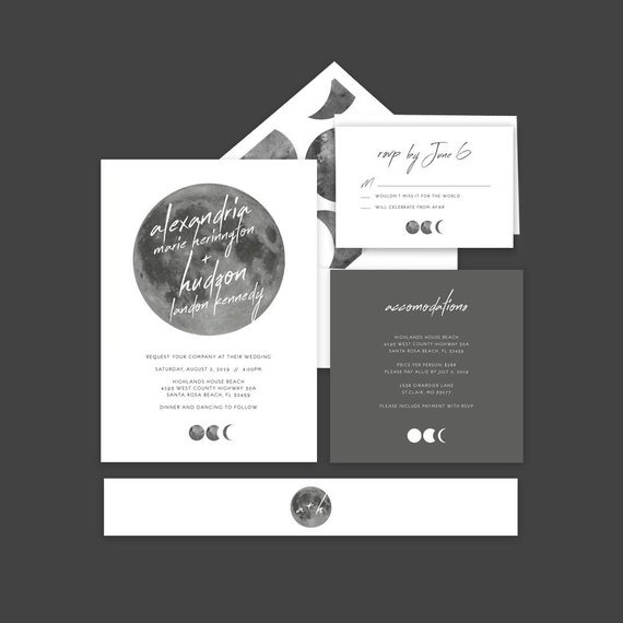 Moon Celestial Space Wedding Invitations    Moon Phases
