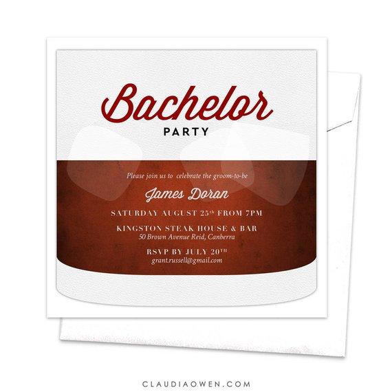 Bachelor Invitation Bachelor Party Cognac Bourbon Whiskey On