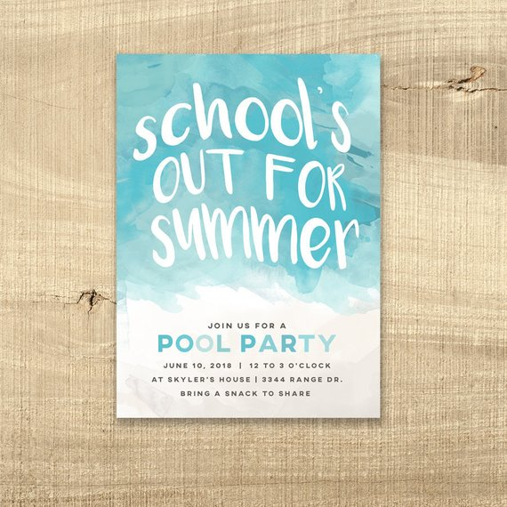 School's Out Pool Party Invitation Pool Birthday Invite