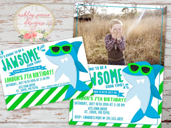 Shark Birthday Invitation Printable Shark Invitation Shark