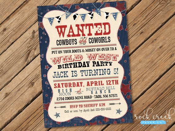 Cowboy Birthday Invitation Wild West Invitation Outlaw