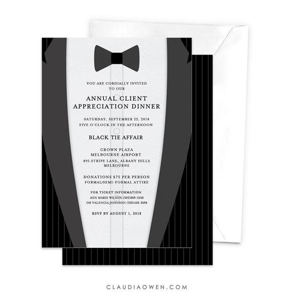 Annual Client Appreciation Dinner Invitation Tuxedo Suit