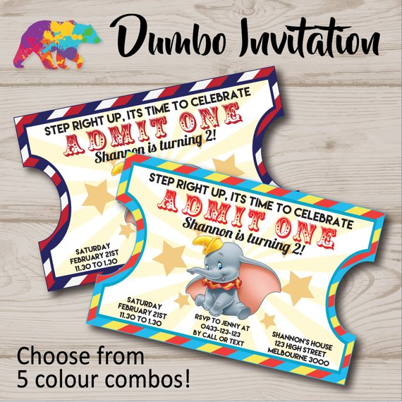 Dumbo Invitation Dumbo Invite Dumbo Party Invite Dumbo