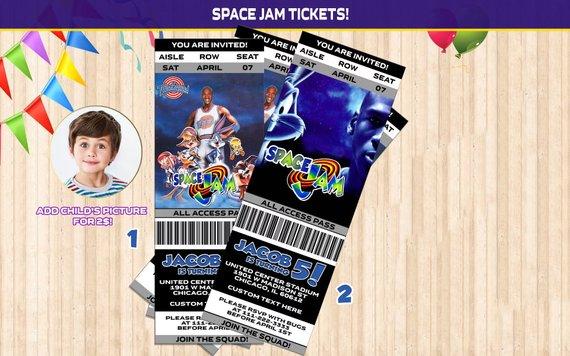 Space Jam Birthday Invitation Ticket Space Jam Movie Party