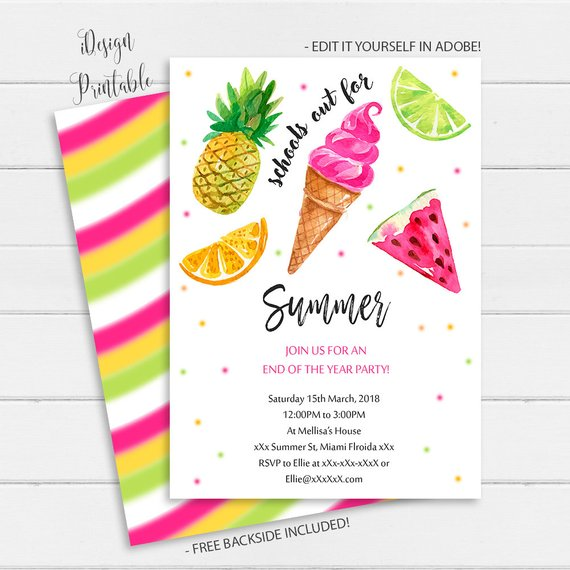End Of School Party School's Out Party Invitation Summer