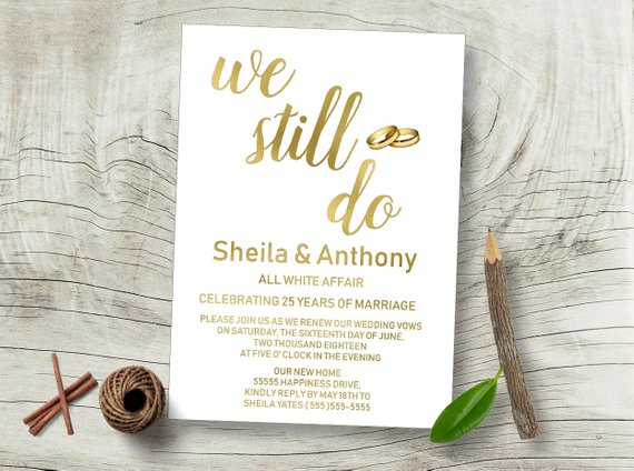 We Still Do Invitation Wedding Anniversary Invitation Vow