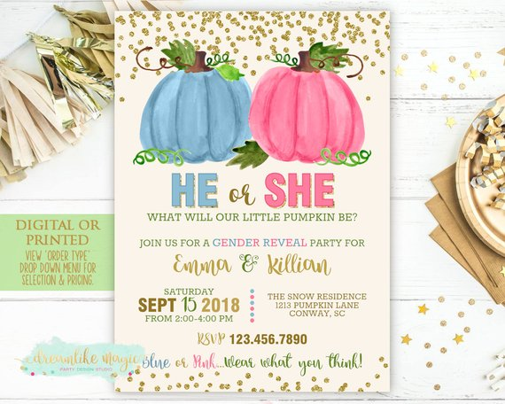 Pumpkin Gender Reveal Invitation Fall Gender Reveal Little