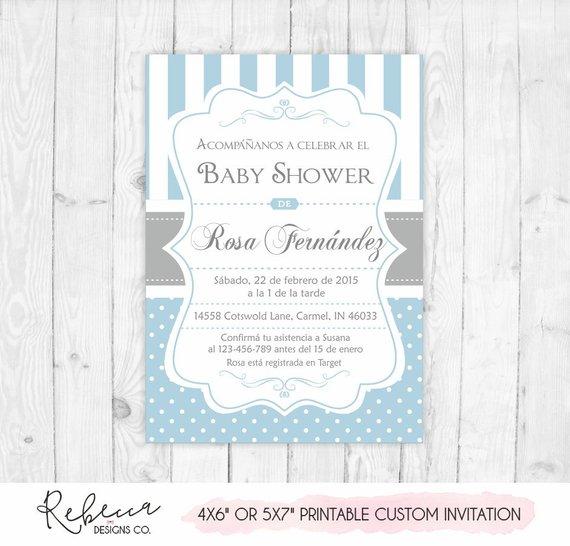Baby Shower Invitation In Spanish Boy Baby Shower Spanish