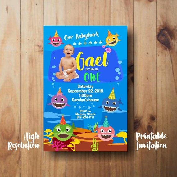 Baby Shark Birthday Invitation Printable Babyshark Printable