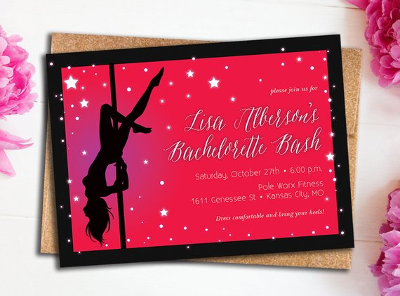 Pole Dancer Bachelorette Invitation With Star    Hot Pink &