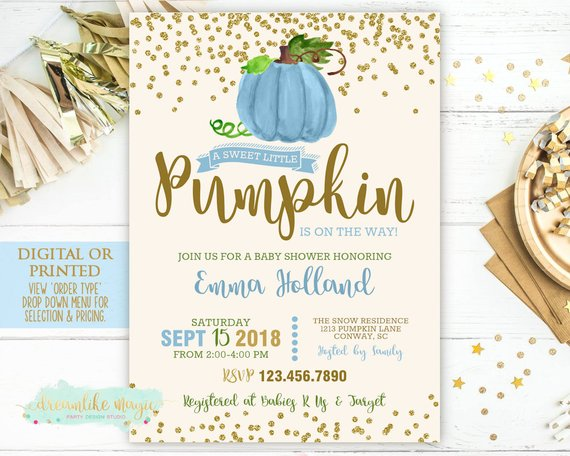 Pumpkin Baby Shower Invitation Fall Shower Invite Boy Little