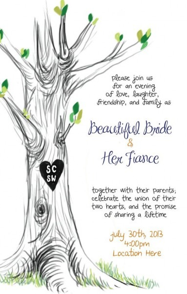 Wedding Invitation Tree Illustration Custom Initials Colors